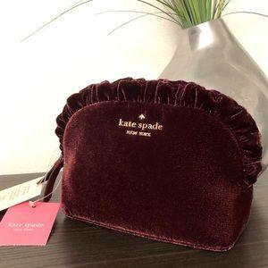Kate Spade ♠️ Burgundy Velvet Cosmetic Bag